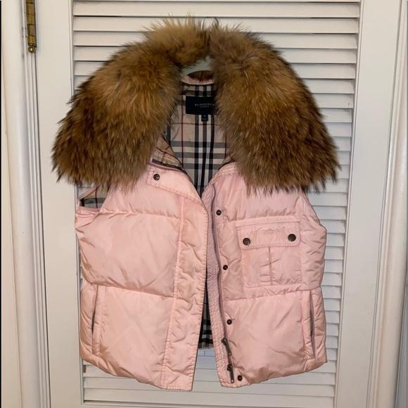 Burberry Detachable Fur Collar Vest